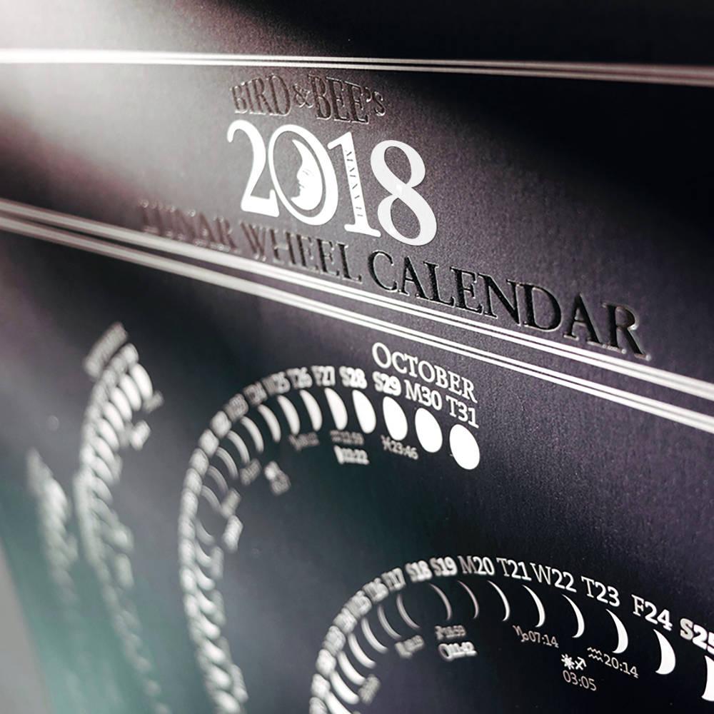 Moon Calendar Print 2018