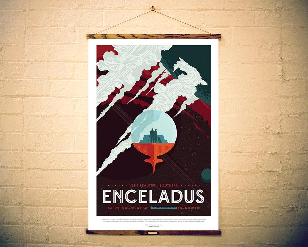 NASA Print Visit Planet Enceladus
