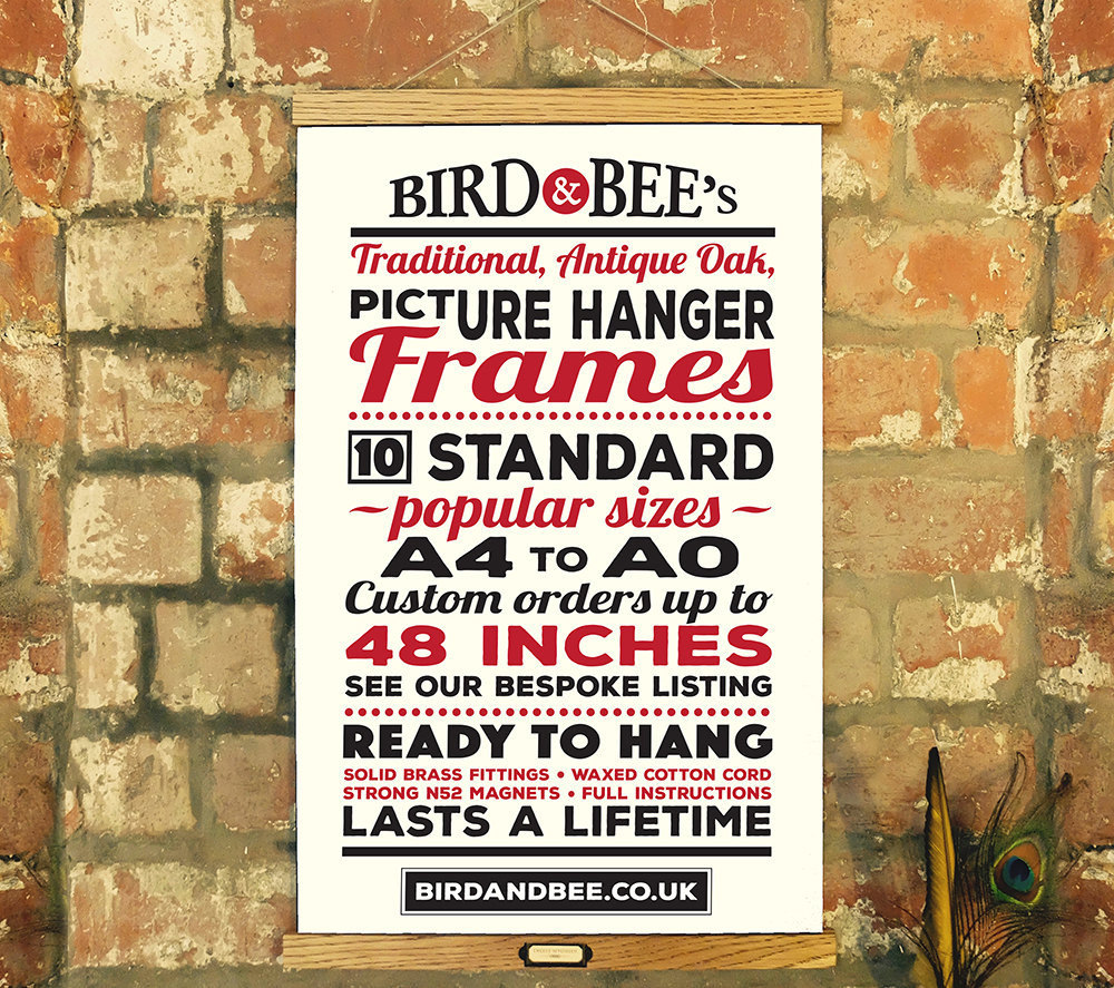 Oak Poster Hanger STANDARD SIZES A4-A0